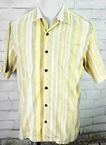 48776e703e38 TOMMY BAHAMA Camp Shirt Short Sleeve Summer 100% Silk Size M Yellow ...