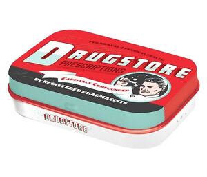 Retro Tin Metal Pill Box 'DRUGSTORE' filled with Mints - 6 x 4cm Americana