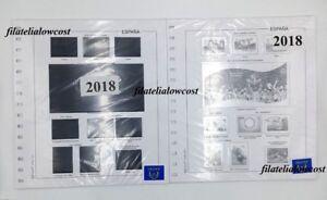 Espana-Hojas-Para-Sellos-2018-Granfil-Completo-Suplemento-Blanco-O-Negro-Nuevo