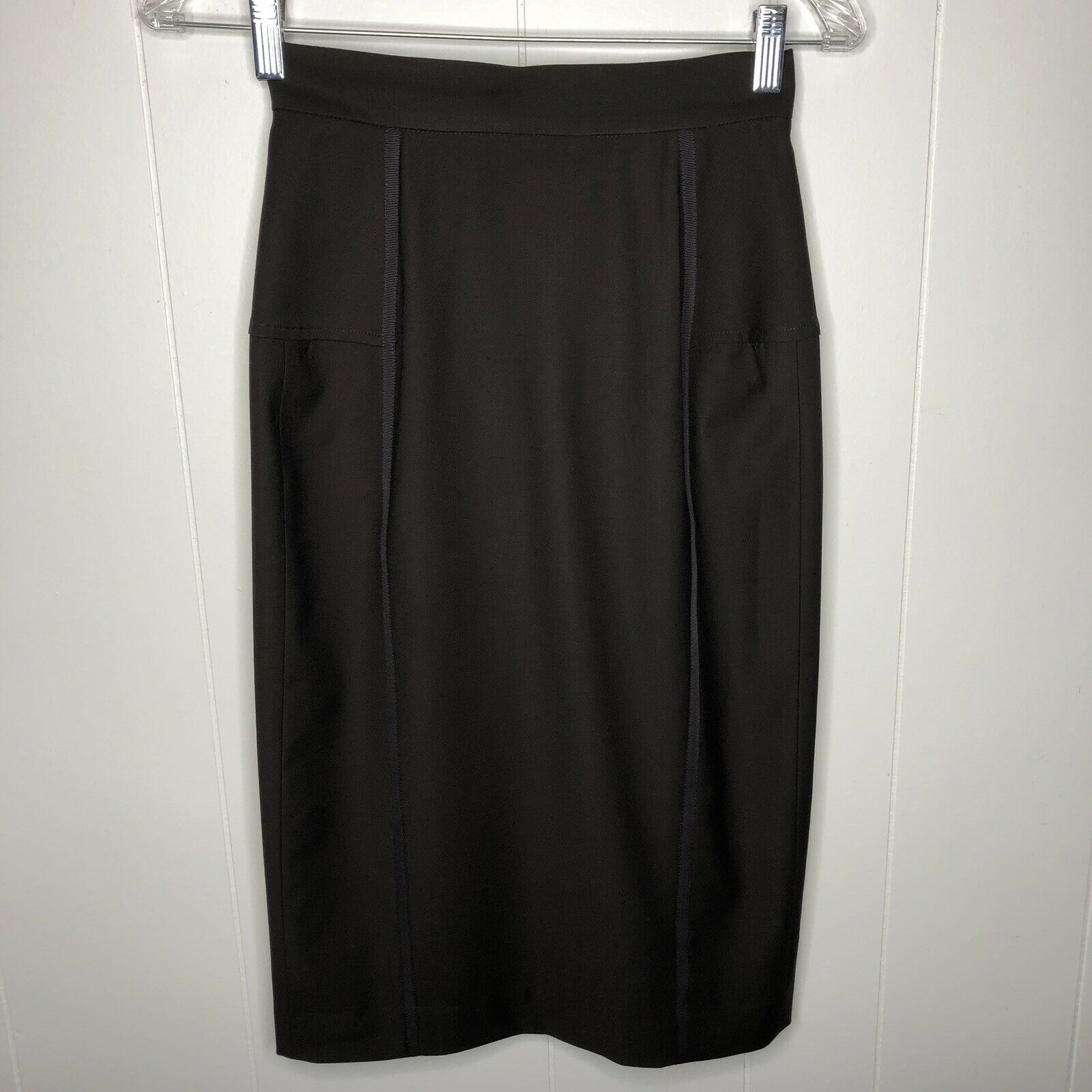 Andy THE ANH Pencil Skirt Women's size 0 Brown w ribbon Piping Lined NWT