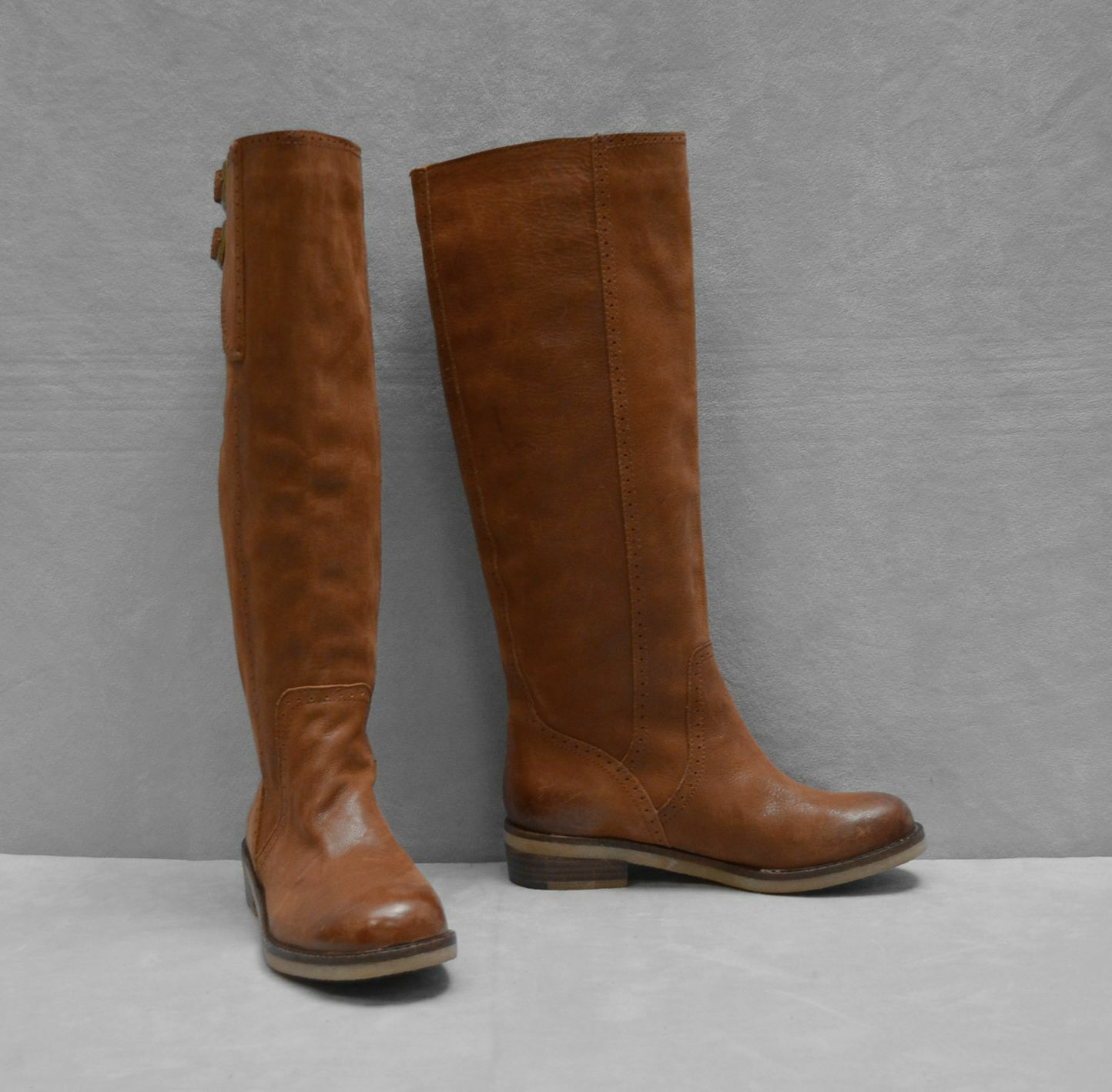 B0 NEU LUCKY BRAND Braun Leder Double Buckle Strap Knee Hi Boot Schuhes Sz 5.5 M