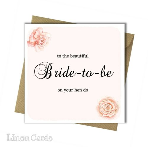 Wedding Card Hen Night Card Bride-to-be Card. Engagement Card