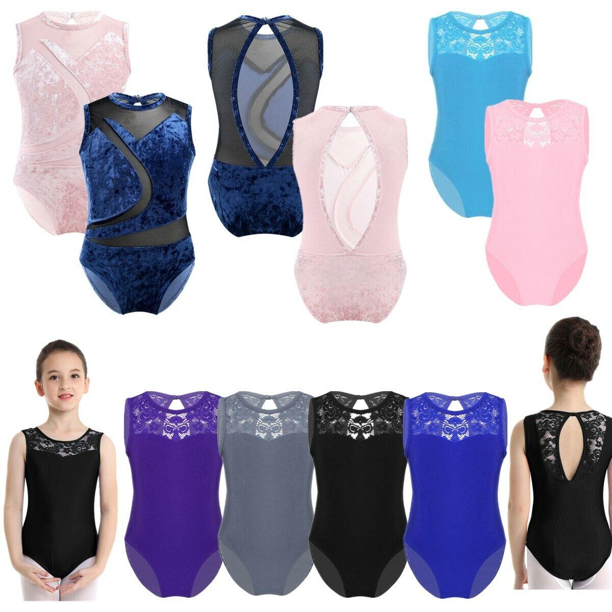 Girls Ballet Dance Gymnastics Leotard Jumpsuit Lace Splice Dancewear Tank 4-14Y