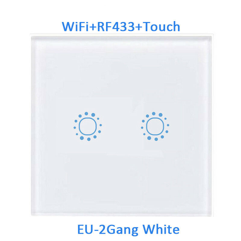 Smart 1/2/3 Gang EU Panel Glass Touch LED Light Switch Wifi,Remote,Dimmer Switch 8