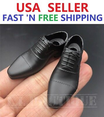 1//6 scale BLACK shoes PEG TYPE for Custom 12/'/' Male Figure Body Doll Accessory