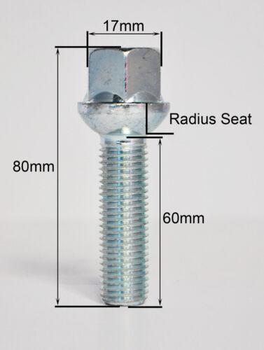 radio Rueda Pernos Plata 16 X M14 x 1,5 60 mm de hilos