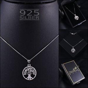 Lebensbaum-Halskette-925-Sterling-Silber-Damen-SWAROVSKI-ELEMENTS-inkl-ETUI
