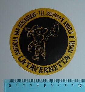 ADESIVO-VINTAGE-STICKER-AUTOCOLLANT-ANNI-039-80-LA-TAVERNETTA-ISCHIA-9x9-cm