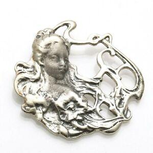 Vintage 925 Sterling Silver Art Nouveau Fairy Pendant Lady