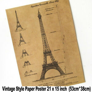 Xxl vintage wall paris eiffel tower blueprints 21x15 inch - Poster xxl paris ...