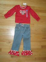 Girl Custom Boutique Ruffles Red White Polka Dots Denim Jeans Set 3t