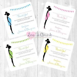 Personalised-BABY-SHOWER-Thank-You-Cards-Mummy-Bump-Design-BOY-GIRL-UNISEX