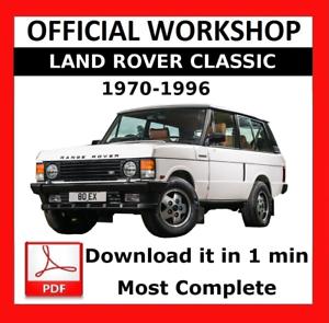/>/> officiel Atelier Manuel De Réparation LAND ROVER CLASSIC 1970-1996