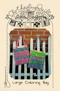 Details about Lg Coloring Bag Childs Crayons Pencils Book Holder Tote  Sewing Pattern Free Ship