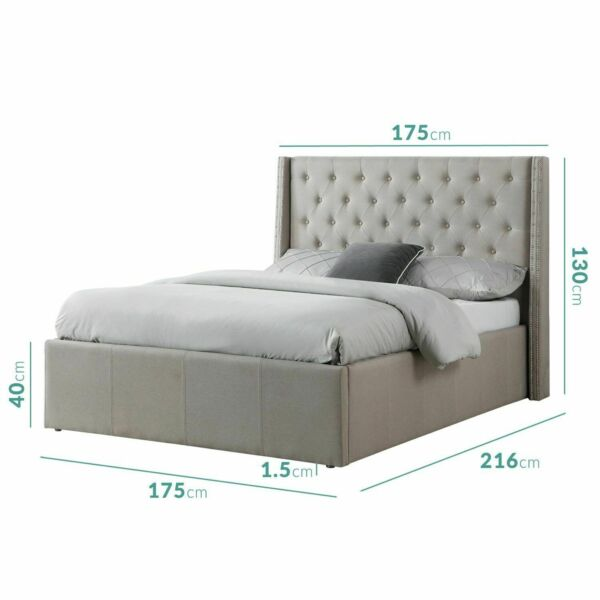 Pleasant Safina Saf018 King Size Wing Back Ottoman Bed With Stud Detailing Beige Theyellowbook Wood Chair Design Ideas Theyellowbookinfo