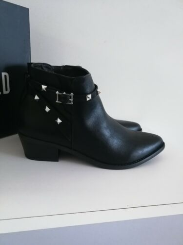 MISSGUIDED Womens New Studded Western Black Shoes Ankle Boots UK 4 5 6 7