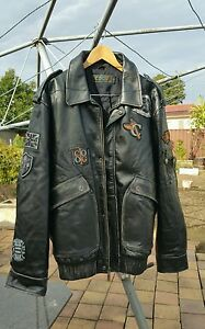 RARE-VINTAGE-COOGI-LEATHER-JACKET-3X-Commerative-Edition-Awesome-Details-BLACK