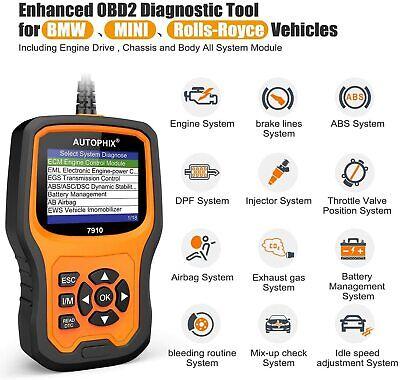for BMW MINI OBD2 Code Reader Diagnostic Tool ABS SRS SAS Scanner Autophix 7910