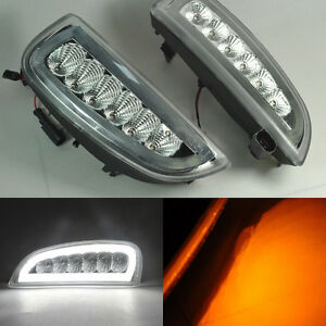 2x-White-LED-Tube-Daytime-Day-Fog-Light-DRL-signal-For-Porsche-Cayenne-2006-2010