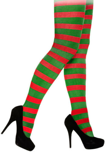 Rouge et vert à rayures collants noël elf jester pixie accessoire robe fantaisie