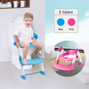3 in1 Baby Potty Trainer Toilet Chair Seat Step W/ Ladder Step Up Training Stool