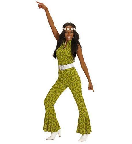 Da Donna Verde Tuta Retrò 1970S Costume Groovy Outfit