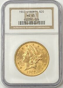 1907-20-Liberty-Gold-Double-Eagle-NGC-MS63-Older-NGC-Holder-Better-Date-PQ