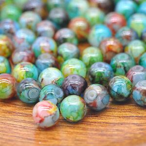 30x-8mm-Natural-Gemstones-Macrame-Beads-Round-Spacer-Loose-Beads-Jewelry-Making