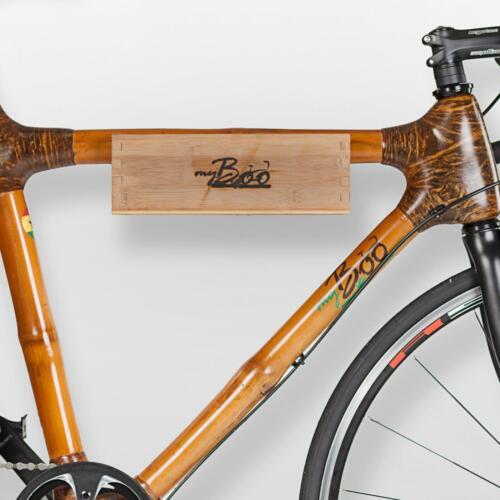 myBoo Fahrrad Wandhalterung Bambus Buche Kiefer Holz Handarbeit Echtleder sozial