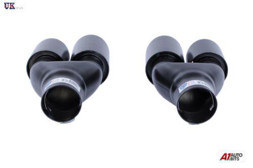 R UNIVERSAL SPORT DUAL TWIN EXHAUST PIPES MUFFLER TRIM PIPE TAIL TIP BLACK L