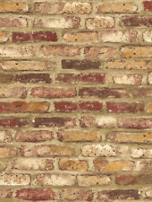 Wallpaper Designer Red Orange Cream and Tan Tuscan Faux Brick Wall