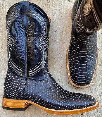 PI 3797 leather boots python print cowboy boots botas imit python square toe men
