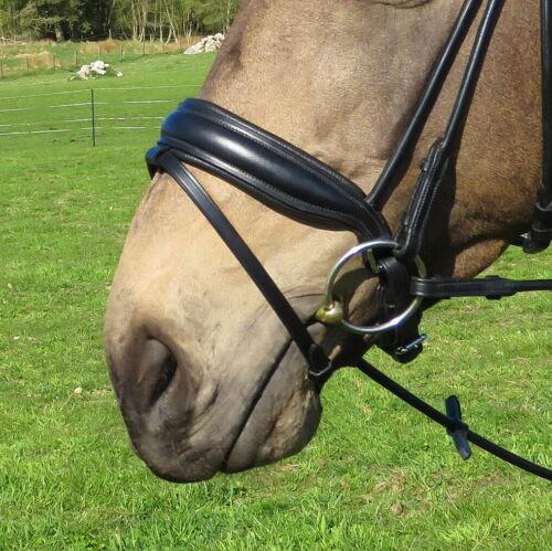 FSS Cut Away Shaped Sides Noseband Padded Matt Patent ROLLED BRIDLE CHEEKPIECES