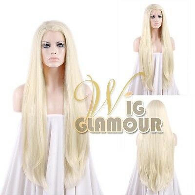 "Long Straight 30"" Light Blonde Lace Front Wig Heat Resistant"