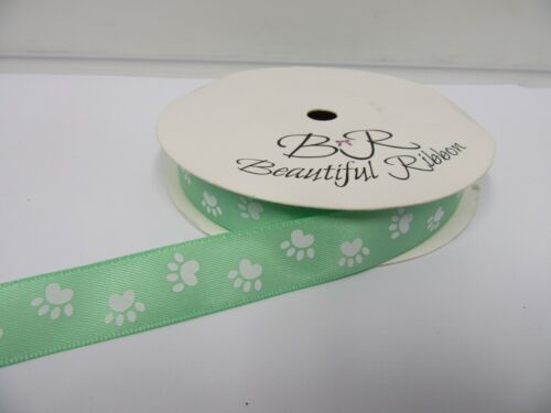 15mm 25mm Paw Print Satin Double Ribbon Dog Pet 25 mtrs 2 metre or Full Roll