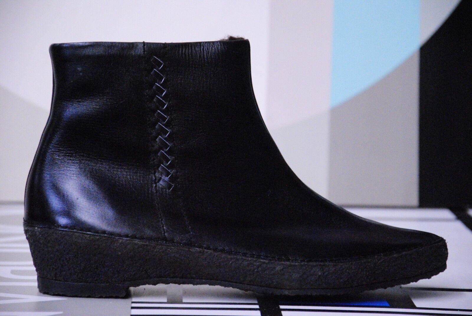 Nos Ruhr negras de piel botines botas 60s True vintage napa botas 41