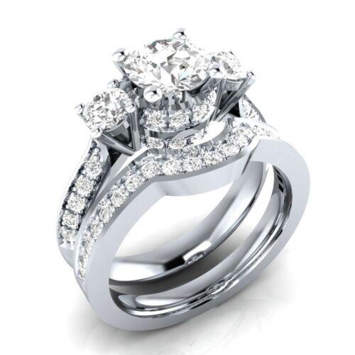 Delicate Women Fashion 925 Silver White Sapphire Ring Set Wedding Jewelry Sz5-11