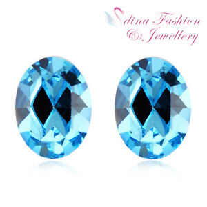925-Sterling-Silver-Made-With-Swarovski-Element-Aquamarine-Oval-Stud-Earrings