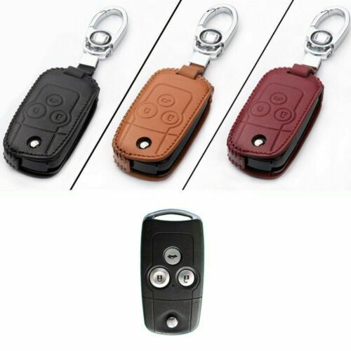 Genuine Leather 3 Button Remote Key Bag Case Fob Holder Chain For Honda Series H