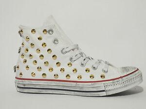 Converse all star Hi borchie oro e teschi scarpe donna uomo bianco artigianali