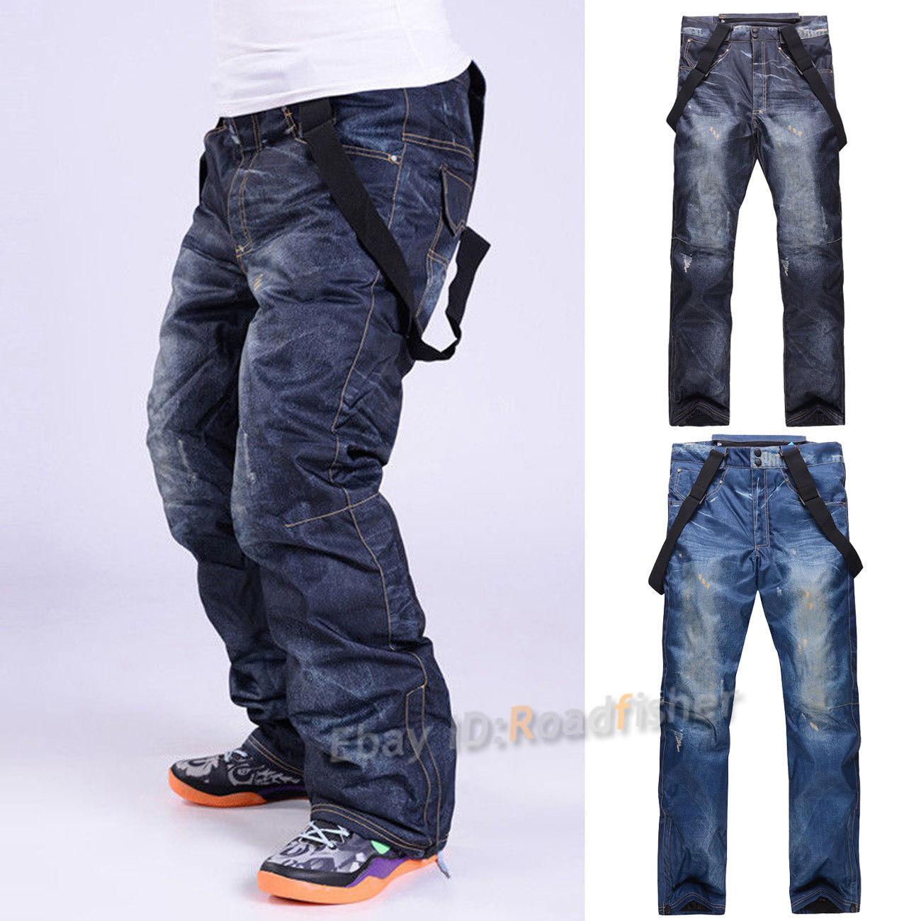 Winter Men Denim Waterproof Ski Pants Outdoor Snowboard Windproof Trousers Pants