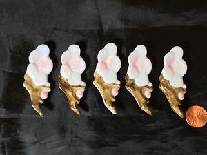 Vintage 1975, Unused Set of 5 Porcelain Cherry Blossom Style Chopstick Rests