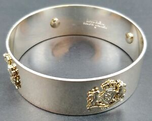 Ralph-Lauren-Silver-Tone-amp-Gold-Tone-Crest-Bangle-Bracelet-Free-Shipping