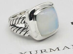 David Yurman Sterling Silver Albion w/14mm Rock Crystal ring Size 8