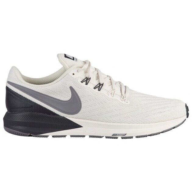 Mens Nike Air Zoom Structure 22 Running Shoes White Grey Gray Black AA1636 001