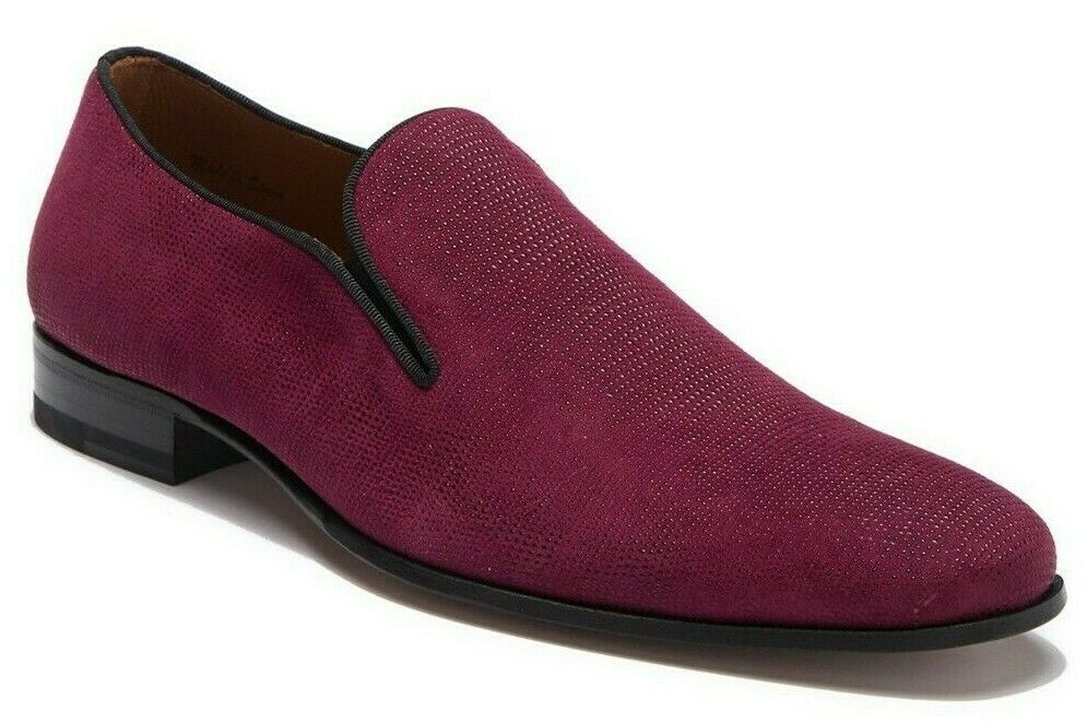 Mezlan Micro-Studded Suede Venetian Loafer Men's Slip On shoes BURGUNDY Size 10