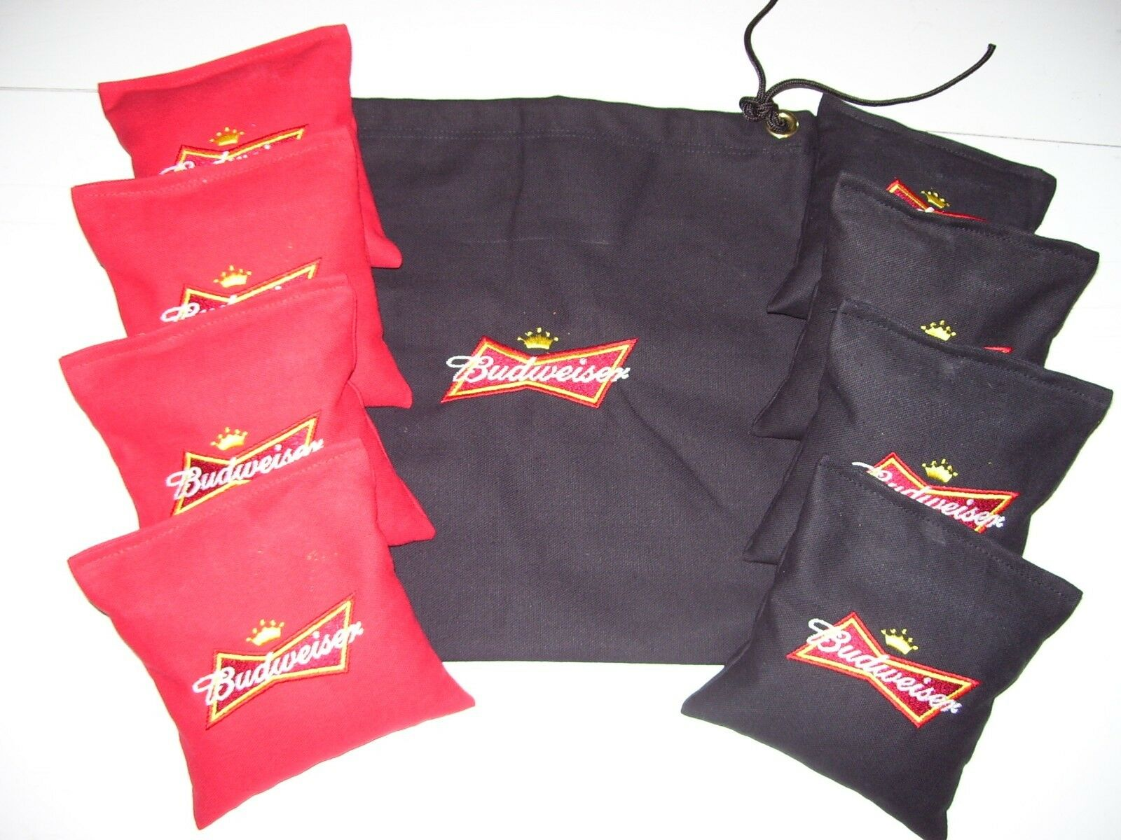 Budweiser Set of 8 Embroidered Cornhole Corn Hole Bags & Storage Bag