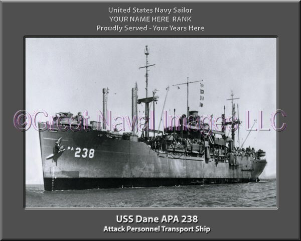USS Dane APA 238 Personalized Canvas Ship Photo Print Navy Veteran Gift