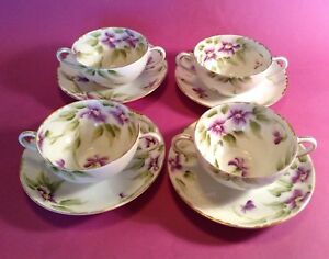 Nippon-4-Eggshell-Bouillon-Cups-And-Saucers-Hand-Painted-Violets-Japan