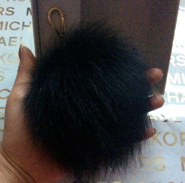 NEW GENUINE FOX FUR HAIR LARGE GOLD KEY CHAIN,RING,FOB,TASSEL,CHARM,POM POM